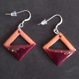 Boucles d'oreilles carré en émaux rose