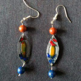 Boucles d'oreilles pendantes avec pierre fine jaspe et lapis lazuli